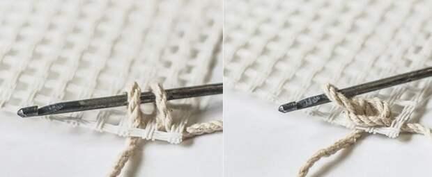 как связать коврик крючком из тряпок