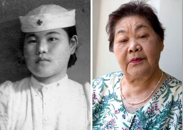 Тэруко Уэно в бытность медсестрой через несколько лет после взрыва и в 2015 году