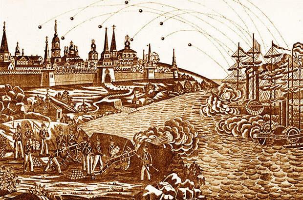 Неизвестный художник. Нападение англичан на Соловецкий монастырь