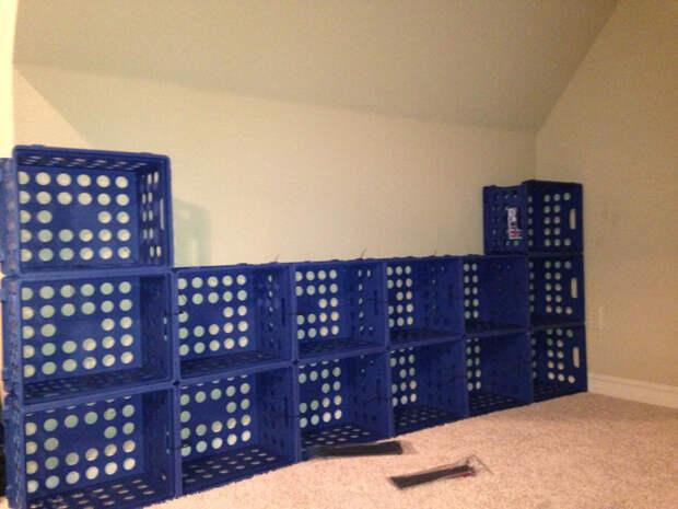 В ИКЕА продаются разные стеллажи, но вот прекрасная альтернатива интересно, контейнер, поделки, полезный пост, своими руками, фото