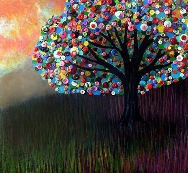 МАСТЕРИЛКА. Деревья из пуговиц
