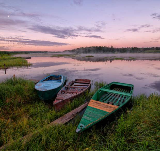 фиолетовый рассвет на реке