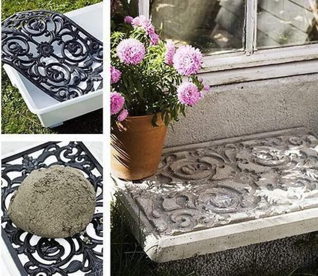 как украсить дачу цементом двор сад