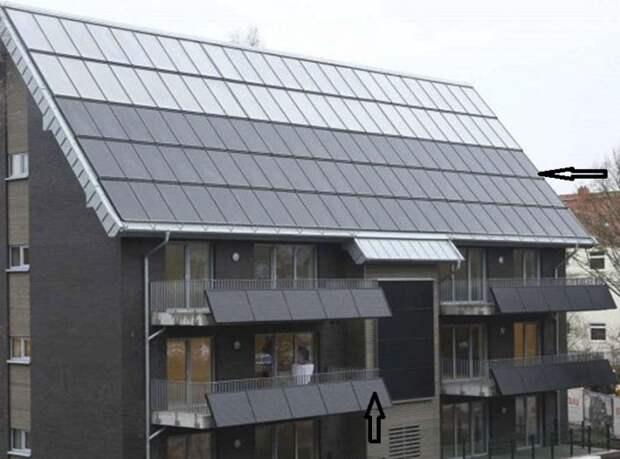 Системы солнечных батарей были установлены на южном скате крыши и даже на балконах дома «нулевой энергии» (Вильгельмсхафен, Германия). | Фото: finance.tut.by.