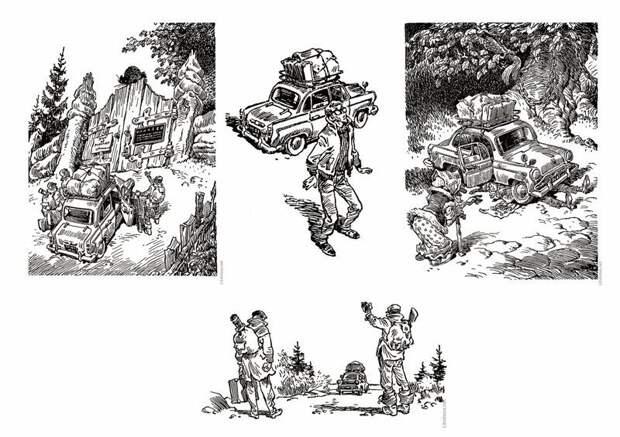"""Иллюстрации 60-х годов Евгения Мигунова. Москвич показан немного условно, а главный герой очень напоминает типаж Шурика из кинофильма """"Операция """"Ы"""" СССР, авто, интересно, история, каршеринг, прокат автомобилей, советский союз"""