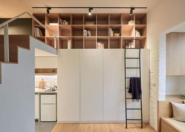 Площадь этой студии всего 22 м² дизайн, идея, квартира, комната, планировка, пространство, студия