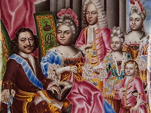 Миниатюра на эмали: Портрет семьи Петра I. Автор – Г.С. Мусикийский