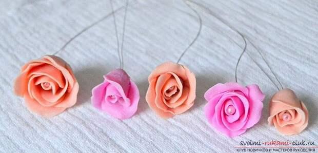 Ободки из полимерной глины с бутонами розм - мастер-класс и ободок с цветами. Фото №7