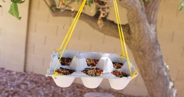 14. Кормушка для птиц вторая жизнь старых вещей, интересно, контейнер из-под яиц, своими руками, сделай сам, фото