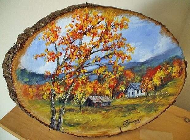 Картины на спиле дерева. Талантливо!