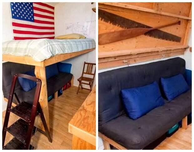 Благодаря грамотной планировке удалось организовать и спальное место, и уютную гостиную («Крошечный дом-трансформер»).   Фото: toptales.cc.