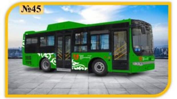 Автобусный маршрут № 45 соединил «Солтүстік саяжай» с «Акбар» базаром (схема движения)