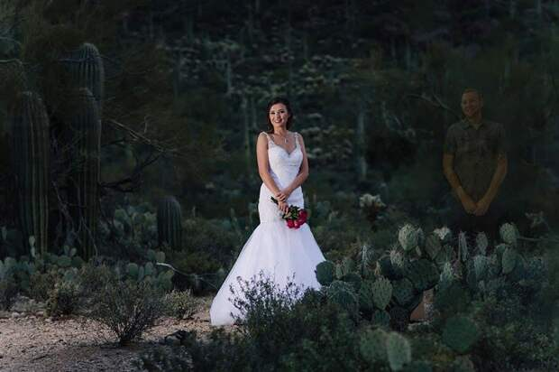 Американка вышла замуж за призрака. Самый грустный свадебный фотосет в истории.