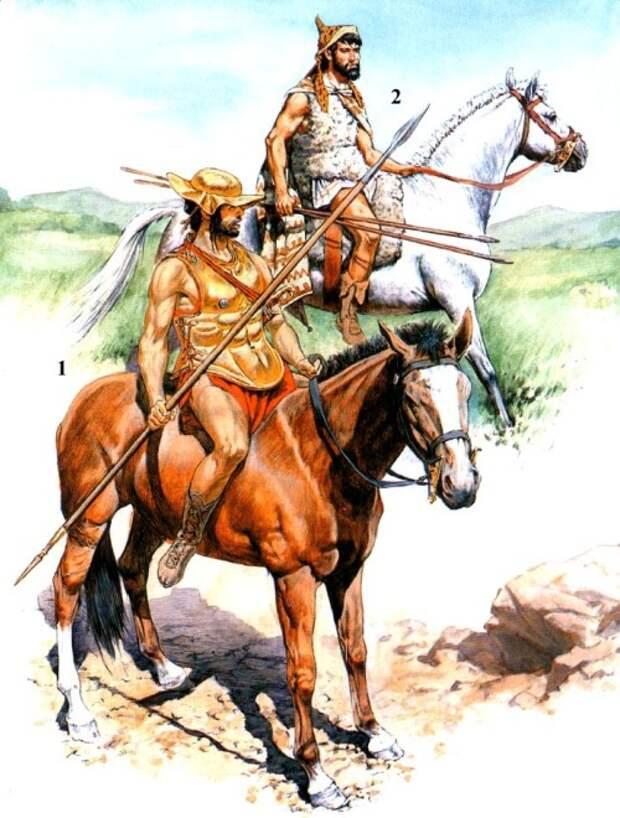 1 - греческий всадник (вторая половина V в. до н.э.); 2 - наемный фракийский всадник на афинской службе (первая половина V в. до н.э.).