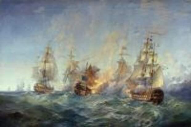 Картина А. Блинкова «Сражение у острова Тендра 28-29 августа 1790 года».