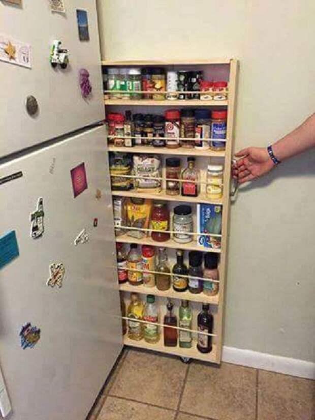 За холодильником, возможно разместить такой удачный вертикальный ящик с полочками, для хранения множества баночек.