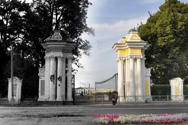 Петергоф 1943-2011 Ворота Верхнего парка блокада, ленинград, победа