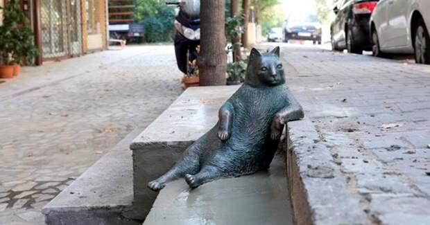 Стамбульский кот Томбили, которому поставили памятник за вальяжную позу