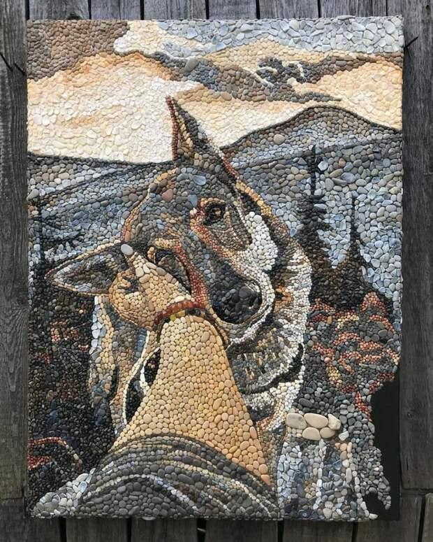 Картины Анны Солнечной из гальки