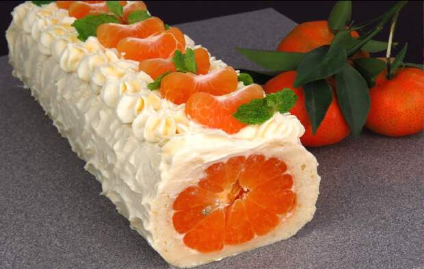Новогодний рулет с мандаринами (без муки)