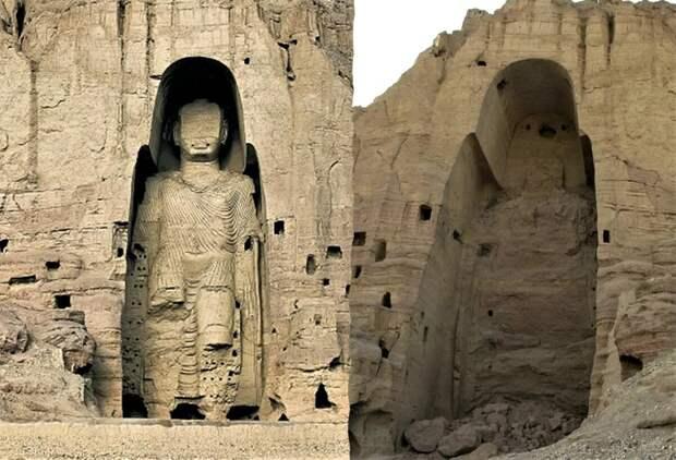 Разрушение Бамианских Будд талибами в 2001 году.