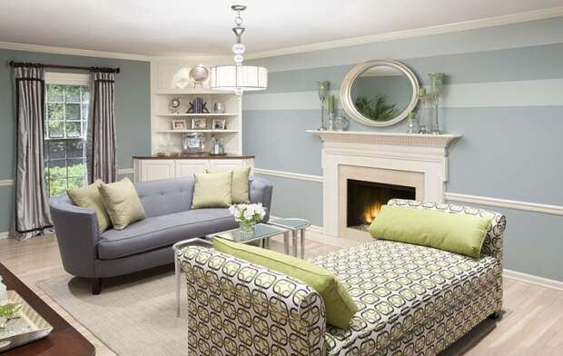 cozy living room with striped accent wall