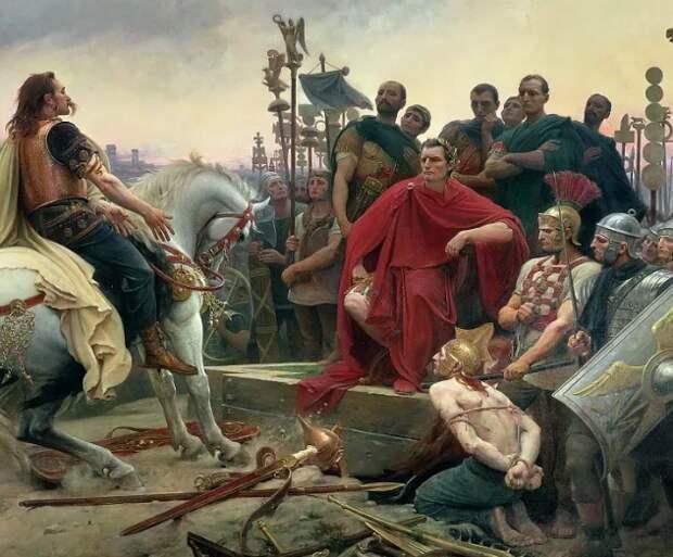 Император Рима и угнетенный германец после диспута о свободе.