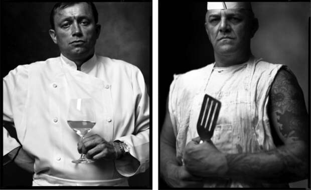 Шеф-повар французского ресторана и Повар из уличной забегаловки. Автор фото: Марк Лайт (Mark Laita).
