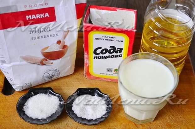 Ингредиенты для приготовления теста для пирожков на кефире
