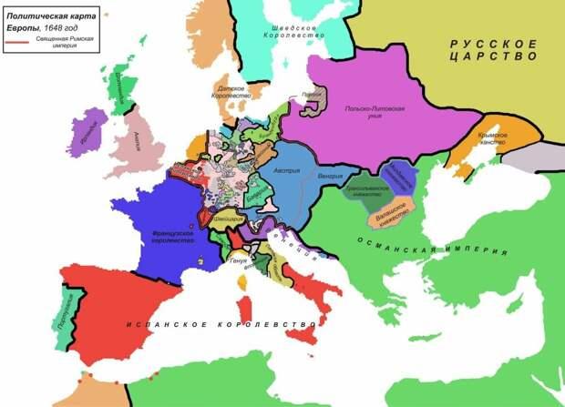 Сиреневым цветом обозначена Речь Посполитая в XVII веке, как раз тогда, когда Русь пошла на нее в наступление, закончившееся ответным захватом и Польши, и Литвы