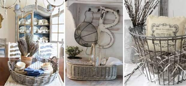 корзины в интерьере кухни в стиле прованс