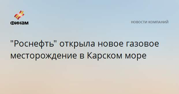 """""""Роснефть"""" открыла новое газовое месторождение в Карском море"""