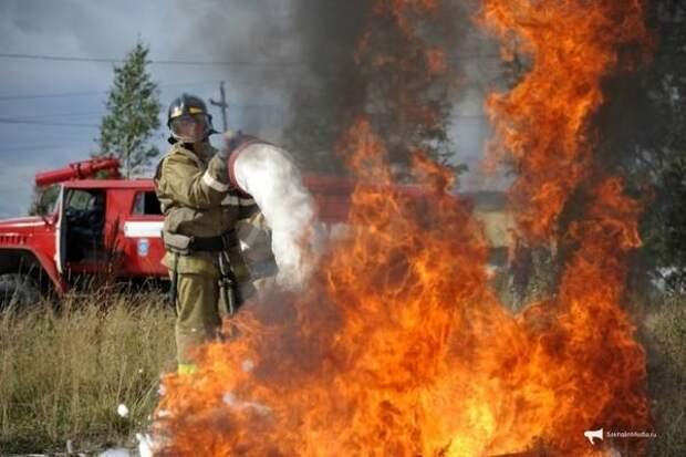 Сухая трава продолжает гореть на Сахалине