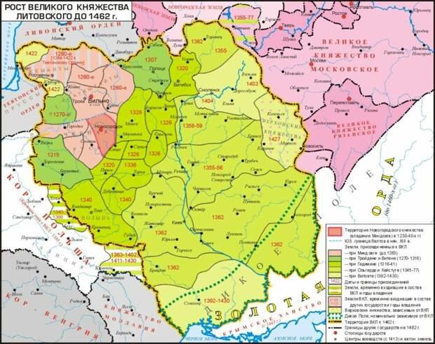 В XV веке Литвой, Польшей, Венгрией и Румынией (Молдавским княжеством) была захвачена почти половина тогдашней Руси. Обратите внимание, где на этой карте находятся Смоленск, Киев, Львов, Ужгород, Черновцы, Минск - все они были захвачены Западом