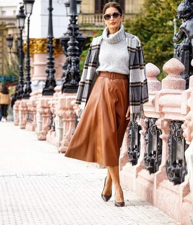 """Стильный дуэт на осень: юбка миди + """"лодочки"""". 8 стильных идей"""