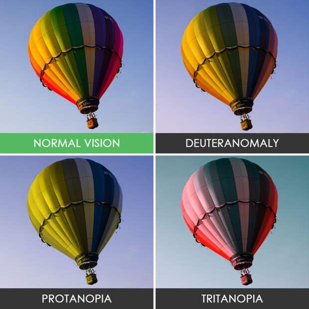 54. Воздушный шар  дальтонизм, люди, мир