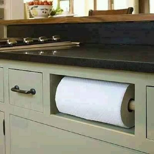 Удачное размещение бумажных полотенец, что позволит создать оптимальную обстановку на кухне.
