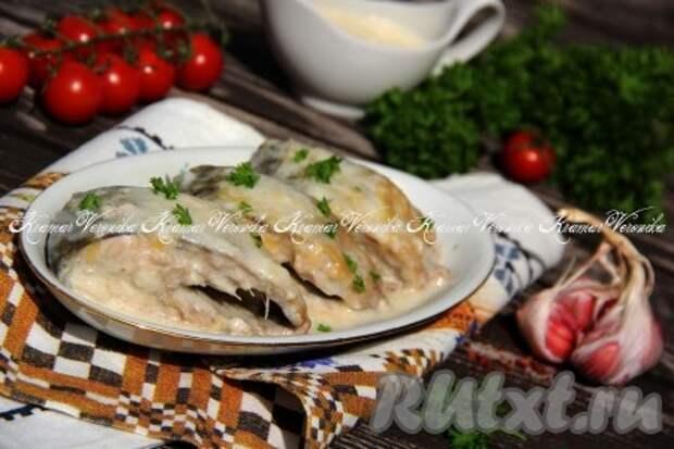 Горбуша в сметанном соусе на сковороде