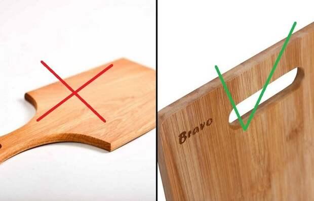 Ручка двойного назначения: для чего нужен вырез на разделочной доске