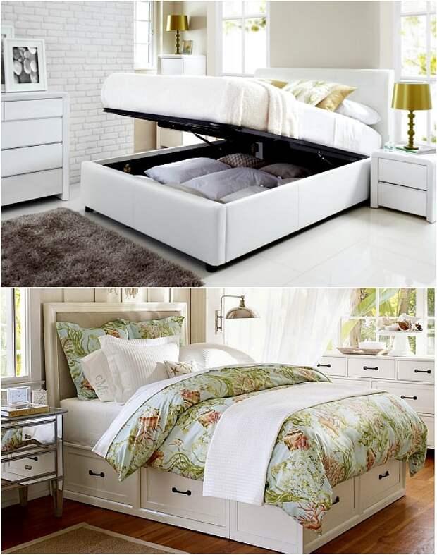Кровать, оборудованная ящиками для хранения.