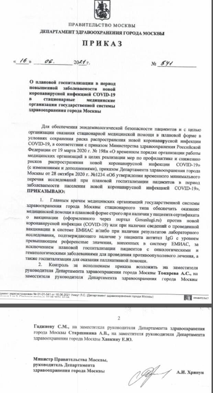 Обыкновенный фашизм и плевок в Конституцию: министр здравоохранения Москвы запретил не вакцинированным от ковида плановые госпитализации и операции
