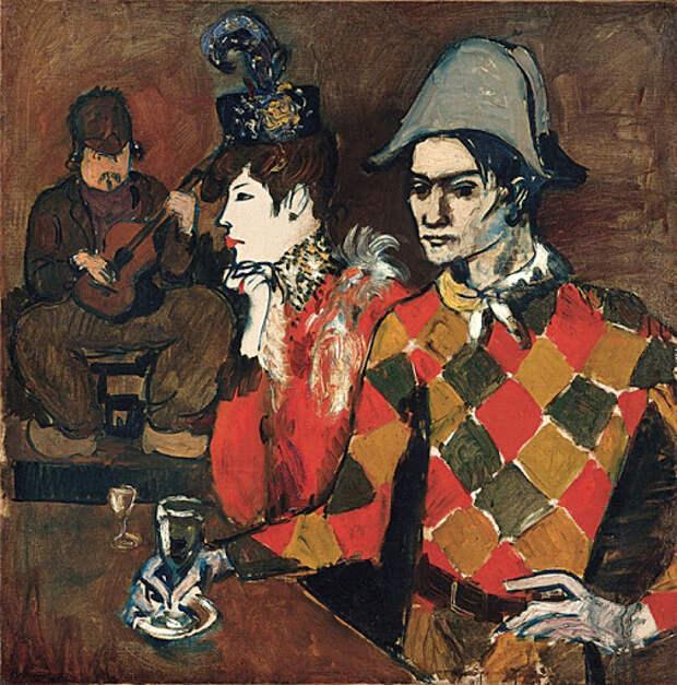 Картина Пабло Пикассо. В кабаре Лапин Агиль, или Арлекин с бокалом. 1905. |  Пабло Пикассо