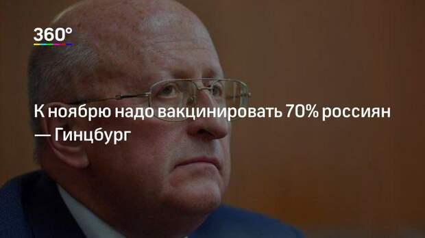 К ноябрю надо вакцинировать 70% россиян— Гинцбург