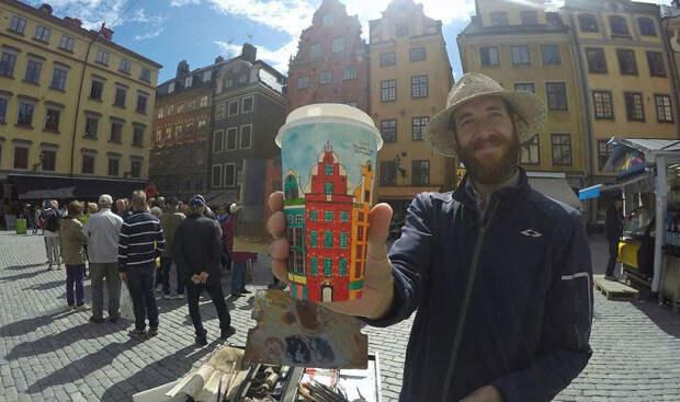 Нет искусства без стакана: путешественник расписывает кофейные стаканчики, зарабатывая нажизнь