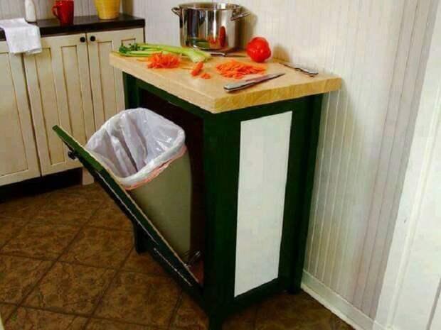 Хороший вариант размещения мусорного ведра, что сэкономит полезное пространство на кухне.
