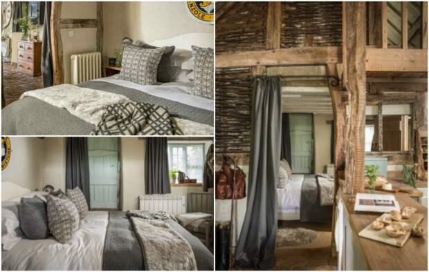 Уютную спальню спрятали за перегородкой и плотной ширмой («Wishbone Cottage», Великобритания).   Фото: uniquehomestays.com.