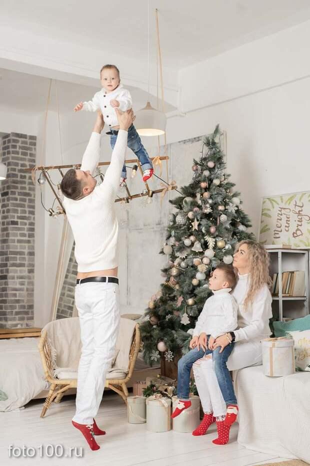 Новогодняя семейная фотосессия в студии Дейли