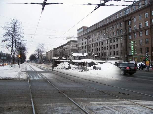 Ленинград 1942-2010 Угол Московского проспекта и улицы Решетникова. Баррикады блокада, ленинград, победа