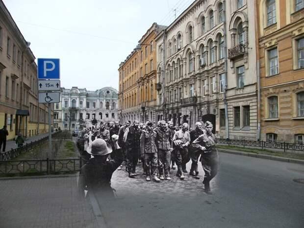 Ленинград 1942-2009 Моховая улица. Пленные гитлеровцы на улицах осажденного города летом 1942 блокада, ленинград, победа