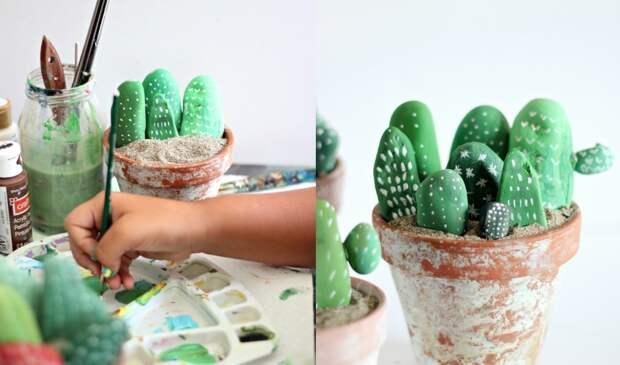 Красивые кактусы из разрисованных камней